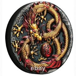 Tuvalu 2020 Golden Imperial Dragon $2 2 Oz Silver Color High Relief Antiqued