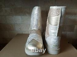 UGG Classic Glitter Patchwork Suede Fur Gold Sparkle Short Boots Size 10 Womens