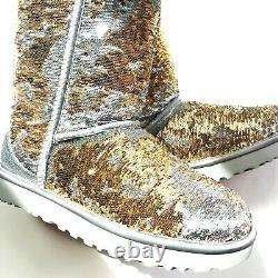 UGG Women's Size US 7 Classic Short Cosmos Sequin Sparkly Boots Gold & Silver