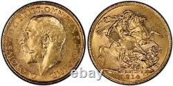 Very RARE King George V 1914 P 22ct Full Gold Sovereign, Perth Mint, PCGS AU58