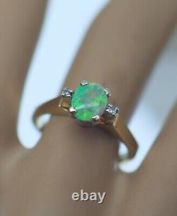 Vintage Antique Jewelry 18K Gold Ring Australia Natural Opal Diamonds Jewellery