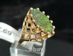 Vintage Handmade 10 Karat Yellow Gold Black Matrix Fire Opal Ring
