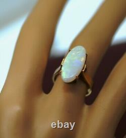 Vintage Jewellery Solid Gold Ring Australia Natural White Opal Antique Jewelry